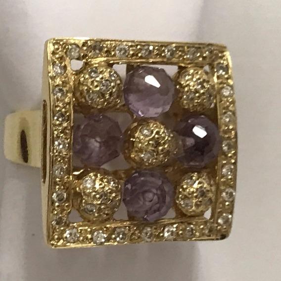 Anel Ouro 18k C/pedras E Diamantes, 9,7 Gramas, Aro 17/18