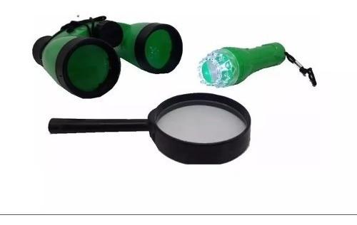 Kit D.p.a Detetive Explorador Binóculo Lupa E Lanterna