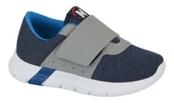 Tênis Infantil Casual Velcro Molekinho 2147.216 Cinza/azul