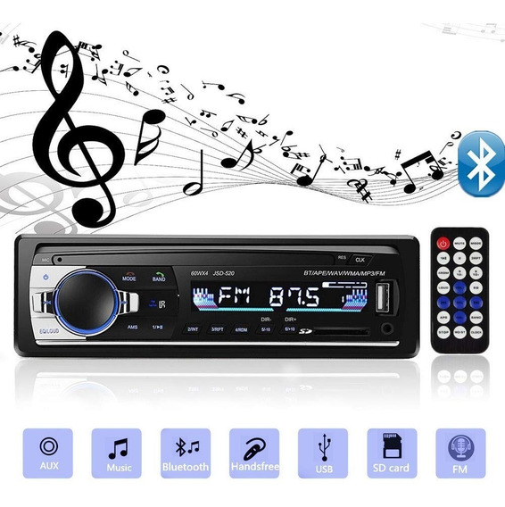 Auto Estereo 1din Bluetooth Mp3/manos Libres/aux/usb/fm