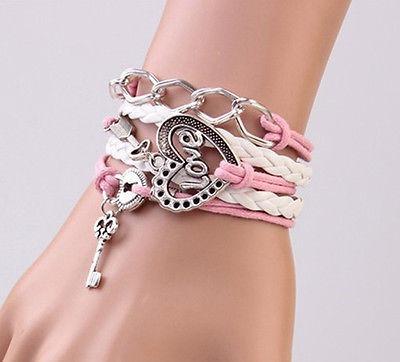 Pulseira Bracelete Love Coração Cadeado Chave Flecha - 52