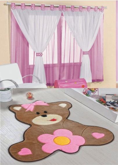 Cortina 2 Mts Com Tapete P Quarto Infantil Modêlo Urso Baby Decoração Barata Barato Top