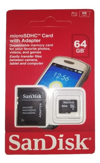 Cartão Micro Sd Sandisk 64gb Lacrado P Celular Lampada Espiã