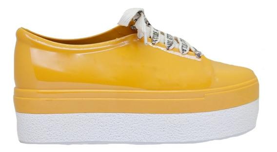 Zapatillas Mujer Goma Amarillo Con Base Alta Blanco