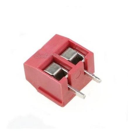 10 Terminal Kre Block Borne Conector Duplo 2 Vias Vermelho