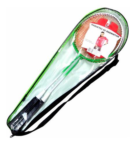 2 Raquetes De Badminton Verde E Branco Com Bolsa Raqueteira