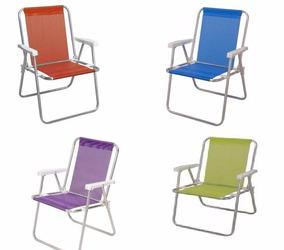 Cadeira De Praia Alta Alumínio Cores Sannet Mor