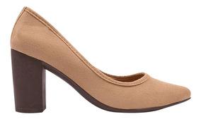 Sapato Scarpin Feminino Salto Grosso Bico Fino Festa Re.747