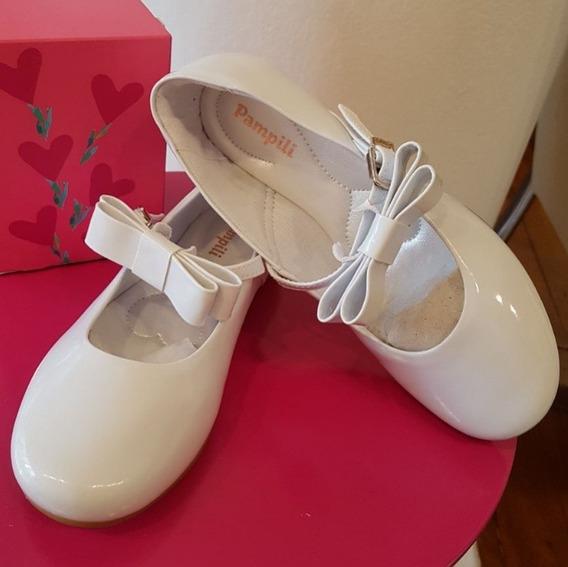 Sapato Boneca Branco Com Laço Removível Número 28
