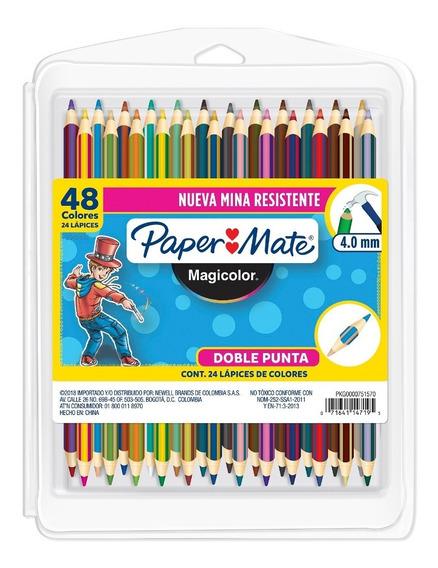 Caja De Lápices De Colores Magicolor Doble Punta Paper Mate