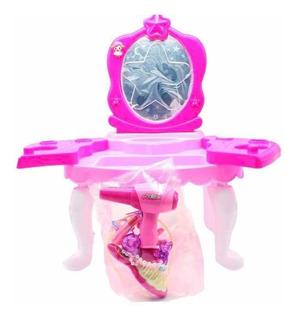 Juguete Mini Tocador Luz Musica Espejo Accesorios Niñas Rosa