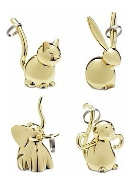 Porta Anéis Animais Dourado Zoola Kit 04 Pc Umbra