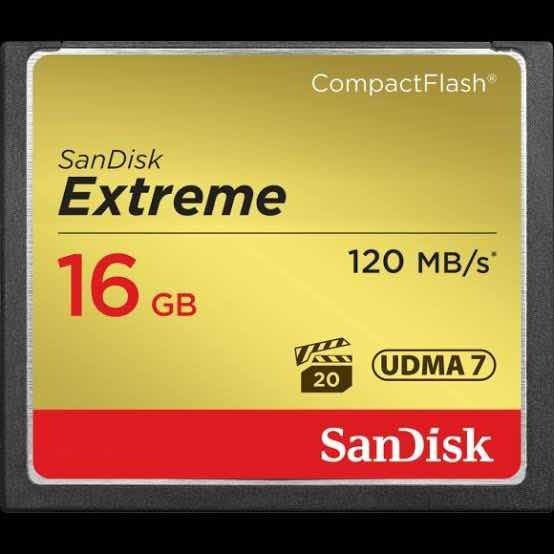 Cartão Compact Flash Cf Sandisk Extreme 120 Mb/s 16 Gb