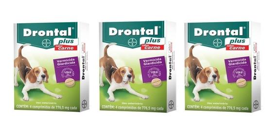 Kit 03cx Vermífugo Drontal Plus Carne Cães Até 10kg