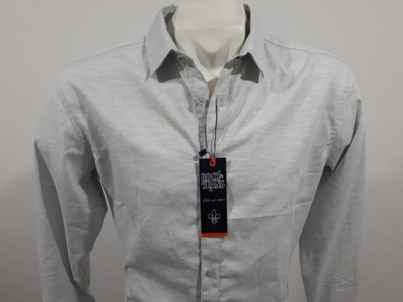 Camisa Rock And Jeans Slim Fit M/l 195750 Gris Culiacán Sin
