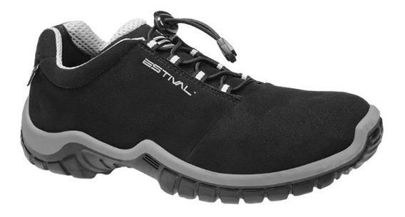 Sapato Ocupacional En1002 1s2 Microfibra Preto/cinza Estival
