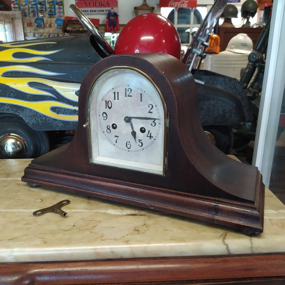 Relógio De Mesa Antigo Madeira Funcionando 2380