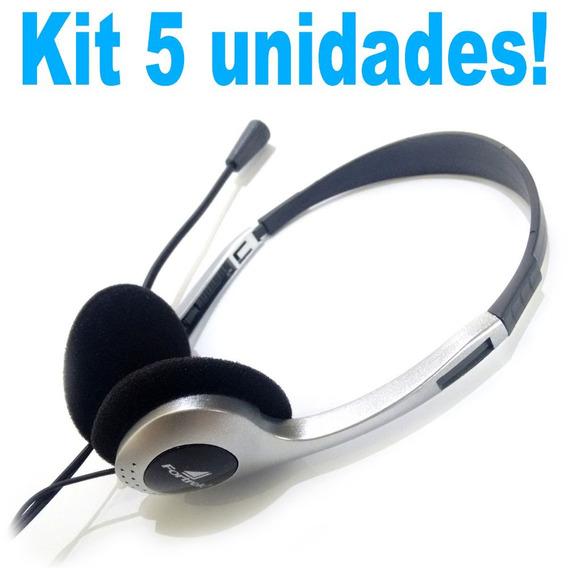 5 Fones Headsets Multimídia Com Microfone 2x P2 Estéreo Novo