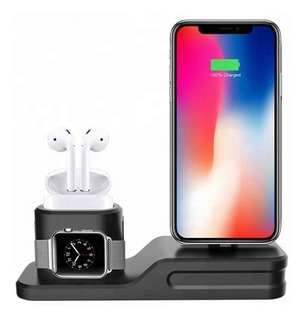 Base Para iPhone AirPods Y Apple Watch Dock Estación Carga