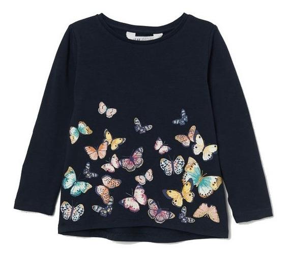 Remera Nena H&m Algodon Manga Larga Azul Mariposas Nueva