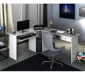 Mesa Para Escritório Em L 1 Gaveta Max Zanzini Branco Gfwt