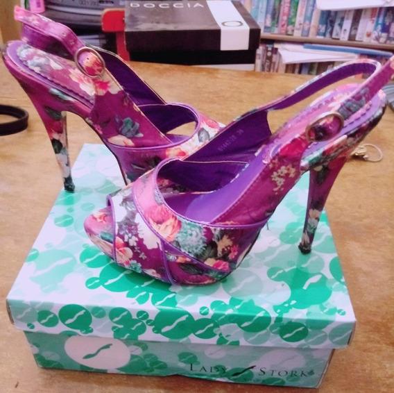 Zapatos Para Salir Floreados Nro 36 O 37 De Taco Alto