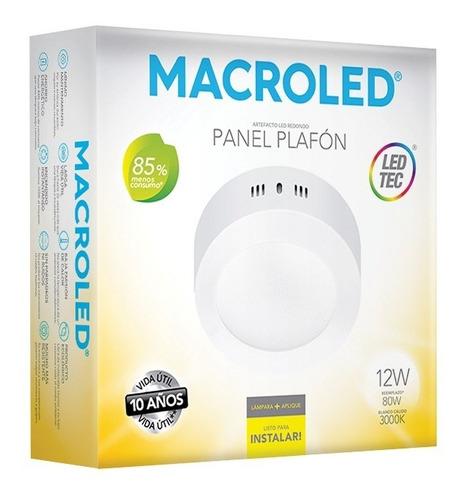 Macroled Panel Plafón Redondo Led 12w Cálido Pr12 3000k