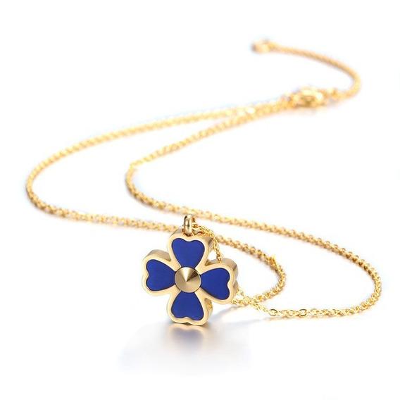 Collar Dama V4 Azul Chapa De Oro 18k + Envío Gratis