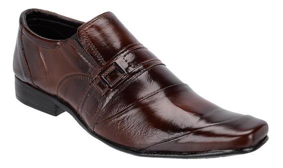 Sapato Social Masculino Couro Bico Fino Queima De Estoque
