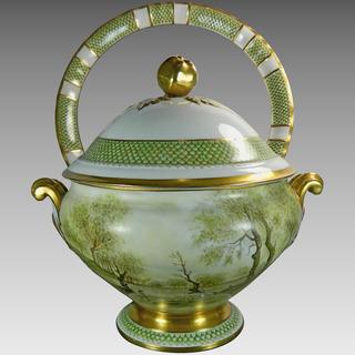 Antigua Sopera Y Platón En Porcelana Limoges Firmada