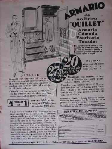 Cartel De Publicidad Antigua Armario O Roperos Quillet 1930