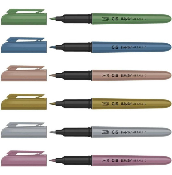 Caneta Pincel Brush Pen Cis Estojo Com 6 Cores Metallicas
