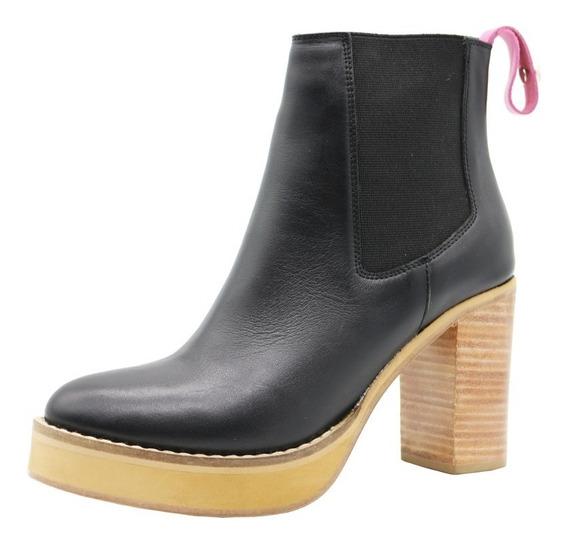 Zapatos Botas Botinetas Mujer Cuero Negro Taco Leblu 847
