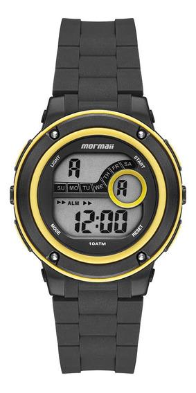 Relógio Digital Masculino Preto E Amarelo Mormaii Original