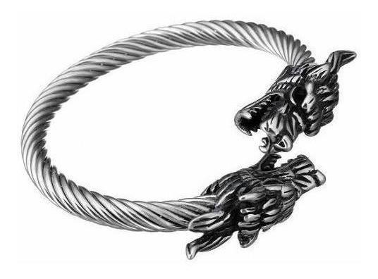 Brazalete Con Forma De 2 Cabezas Dragon Acero Plateado