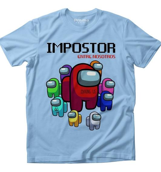 Playera Among Us Impostor Videojuegos Azul