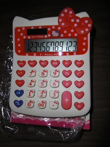 Calculadora Hello Kitty Sanrio Blanco Con Rojo (7 Vrds)