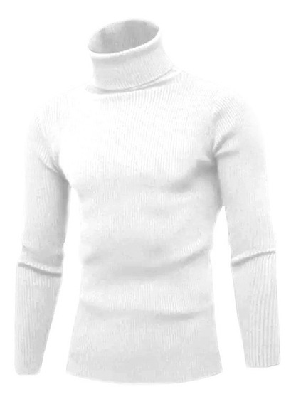 Cacharrel Blusa Tricot Lã Masculina Canelada Gola Alta Re765