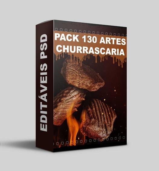 Pack 130 Artes Churrascarias Psd Editável Mega Oferta
