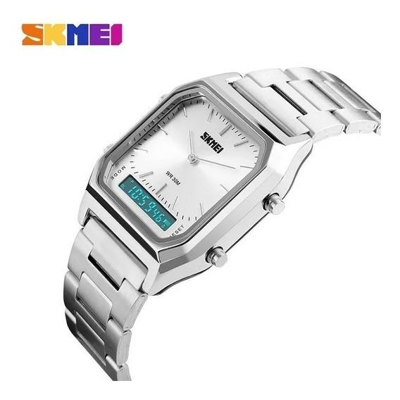 Relógio Anadigi Skmeir Aço Inox 1220 - Prata