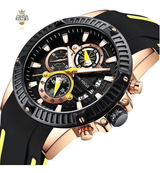 Relógio Masculino Original Dourado Mini Focus Esportivo 0244