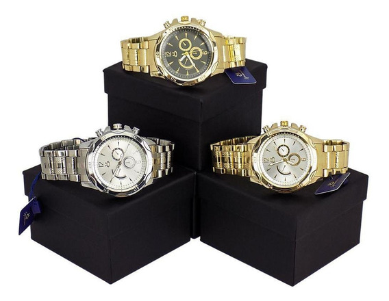 Kit 3 Relógios Masculino Orizom Analógico Aço Inox