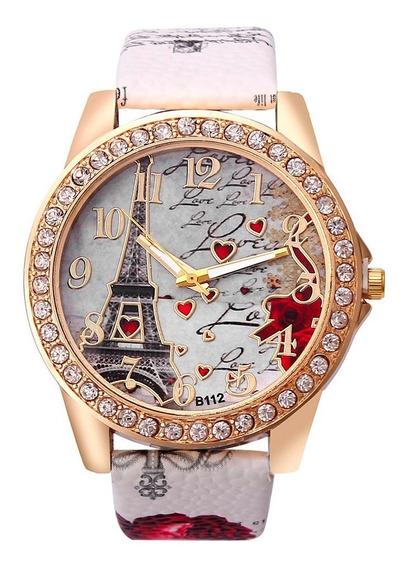 Relógio Feminino Torre Eiffel Quartzo Pulseira Couro-branco