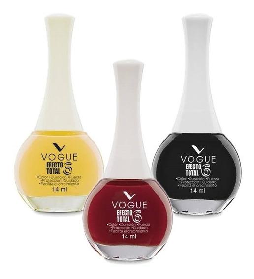 Esmalte De Uñas Vogue Efecto Total 6 Pack 3un Elegi Colores