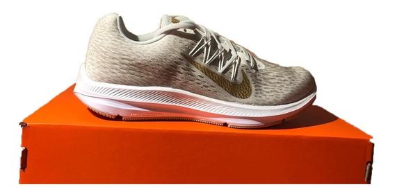 Tênis Feminino Nike Zoom Winflo 5 Bege E Dourado Original