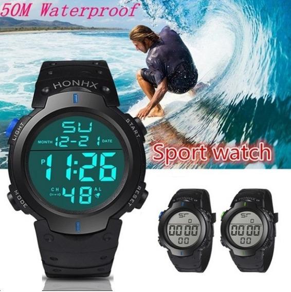 2 Relógio Masculino Azul E Verde Digital - Esporte