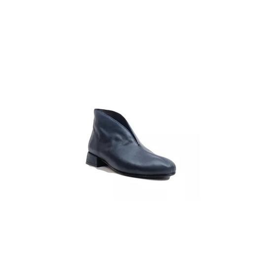 Zapato Mujer Bota Punta Redonda Natacha Cuero Azul #363