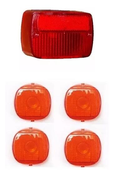 Lente Lanterna Vermelha + 4 Lentes Piscas Amarelo Agrale
