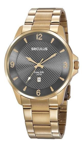 Relógio Masculino Seculus Dourado 20806gpsvda2 Preto