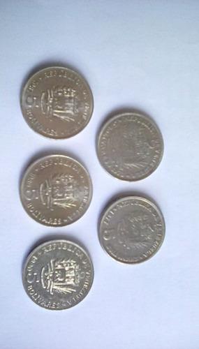 Colección Monedas De 5 Bs Niquel 1973/1977/1987/1989/1990